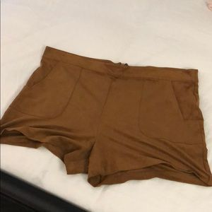 Camel brown suede shorts